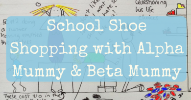 School shoe shopping with alpha and beta mummy