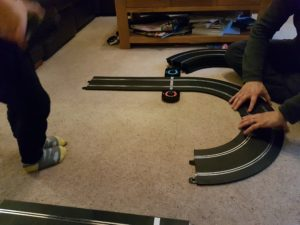 Clipping together the Scalextric Le Mans Sports Car track
