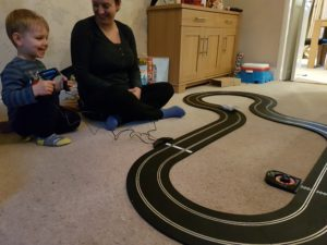Scalextric Le Mans Sports Cars track with Joshua playing