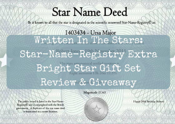 Written In The Stars: Star-Name-Registry Extra Bright Star Gift Set Review & Giveaway