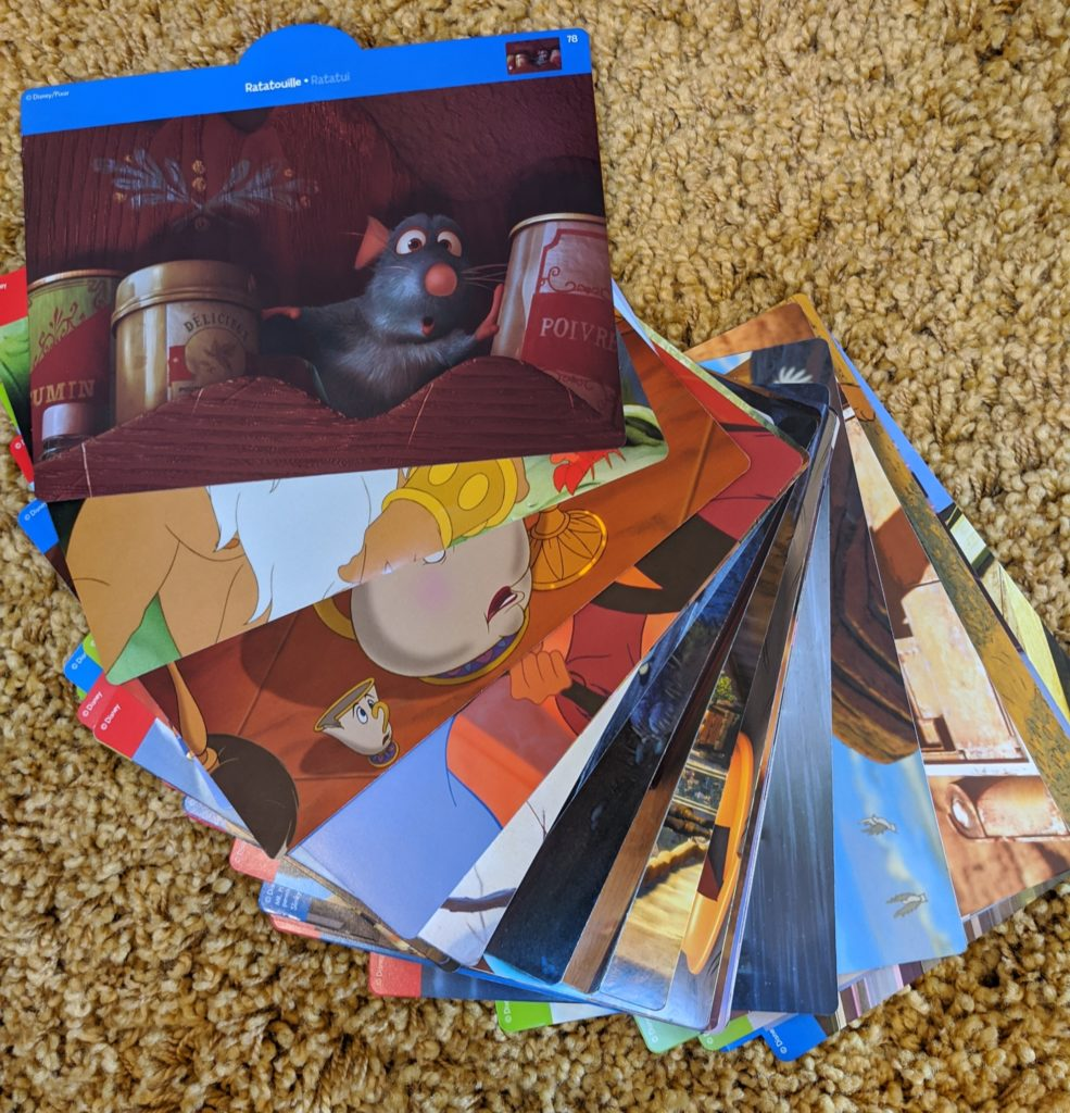 various sample cards showing kids movies