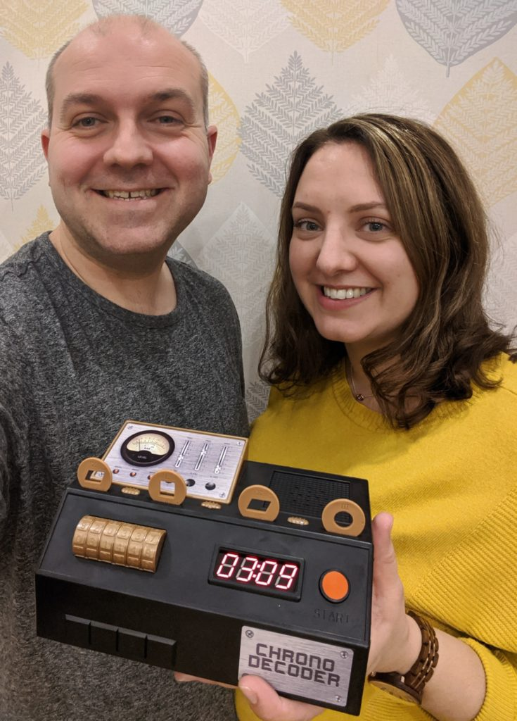Sarah & I having successfully beaten the first challenge with 3 minutes to spare