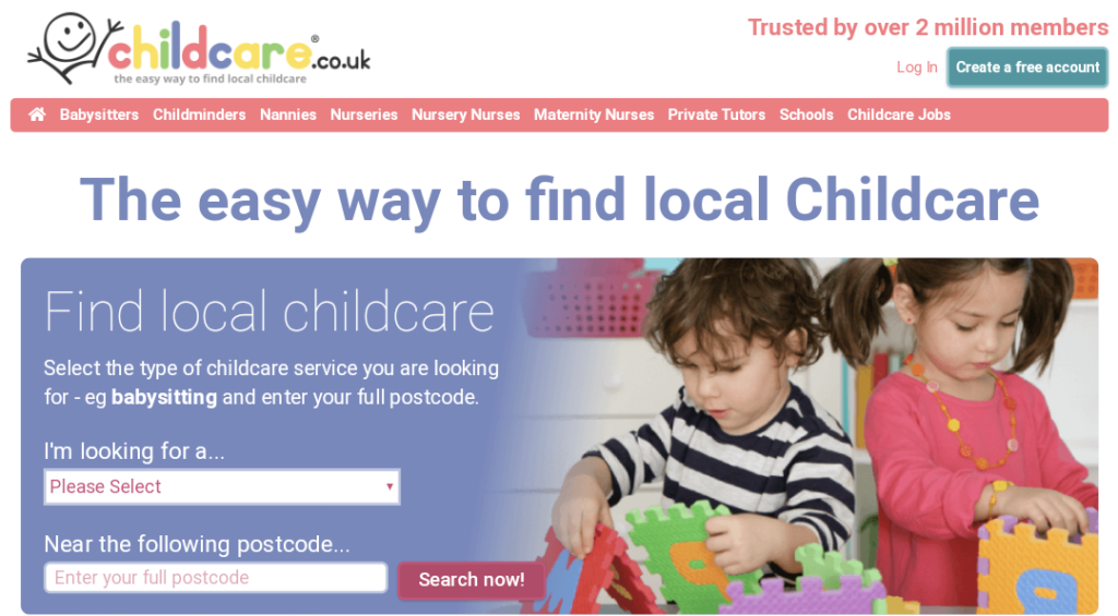 Childcare.co.uk front page