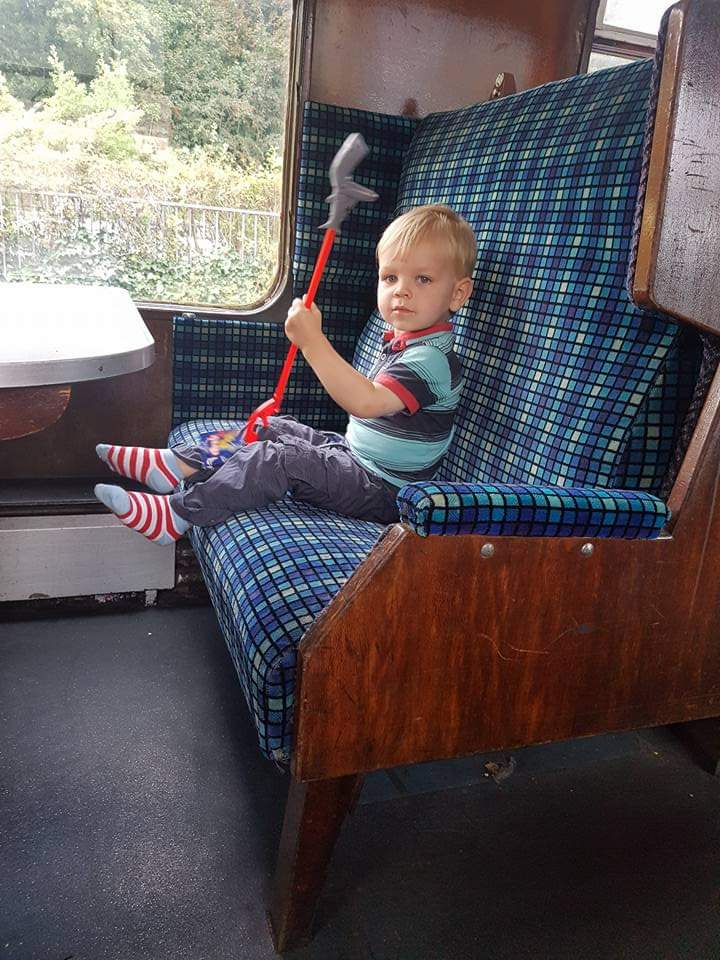 Joshua enjoying a steam train ride in the Lake District